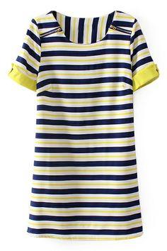 Stripes Print Round Neck Dress