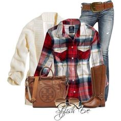 Jeans with red plaid top and sweater