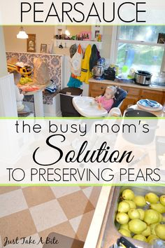 The Busy Moms Solution to Preserving Pears Fall is a busy time of canning applesauce and freezing pumpkin. But don't forget about preserving pears! Even busy moms can get the pantry stocked. | Just Take A Bite