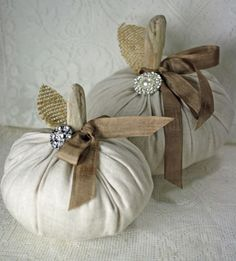 Fabric Pumpkins Vintage Linen Driftwood Stems Set of 2 Thanksgiving Crafts, Thanksgiving Decorations, Fall Crafts, Holiday Crafts, Diy Crafts, Velvet Pumpkins, Fabric Pumpkins, Sweater Pumpkins, Fall Pumpkins