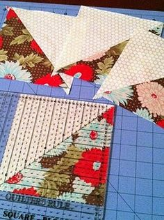 World's easiest half-square triangles with formula for adjusting to your needed size