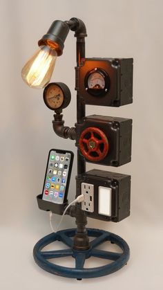 23 Steampunk Tower Lamp with Night Light AC & USB Outlets Smartphone Charging Cradle Working Volt Meter Pressure Gauge Edison Bulb Lampe Industrial, Industrial Lighting, Vintage Industrial, Lampe Steampunk, Steampunk Furniture, Handmade Table, Pipe Furniture, Industrial Furniture, Furniture Vintage