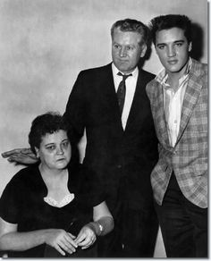 in 1958 - Elvis Presley at the draft board with his parents, Gladys and Vernon Presley