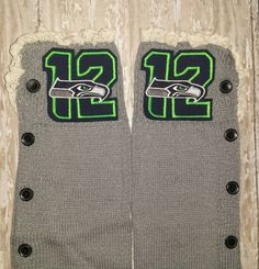 Seahawks Leg Warmers, Lace Top and Button Down Side with Embroidered NFL Logo, Boot Socks Peekaboo Logo