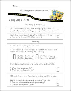 Mrs. Ricca's Kindergarten: Common Core Assessment {Freebie}