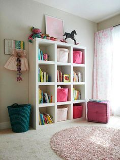 De-clutter Your Kids' Rooms, with cubical shelving. Awesome!