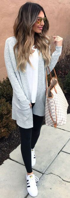 sporty chic outfit wearing a grey cardigan