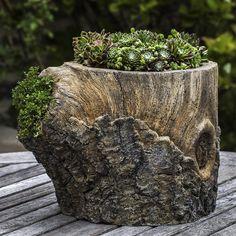 Campania International, Inc Faux Bois Cast Stone Pot Planter Stone Planters, Urn Planters, Planter Boxes, Succulent Planters, Planter Ideas, Garden Art, Garden Design, Fairies Garden, Tree Stump Planter