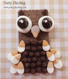 Whoooooo loves a cute snack?  I do!  I started with a chocolate graham cracker and spread a little Nutella on it. Then I placed some chocolate chips on the Nutella and halved some Ice Cream Cone Mallow Bites for the feathers and beak.  Next, I cut a Regular Jet-Puffled Marshmallow in half for the eyes along with Junior Mints and mini white sprinkles!
