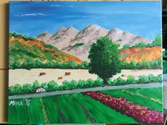 NorCal landscape Acrylic on canvas (16x20) Another Art Social painting class produces a nice landscape.  The house is silly but some elements of the painting are very nice inclusing the sky, hills and the tree.  The haystacks are a nice detail too.
