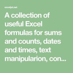 A collection of useful Excel formulas for sums and - Macros Breakfast Ideas Computer Lessons, Computer Basics, Computer Help, Computer Programming, Computer Tips, Technology Lessons, Microsoft Excel, Microsoft Office, Excel Design