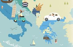 The Mediterranean map illustration for two spread Table of Contents page of sisterMAG Issue No.19