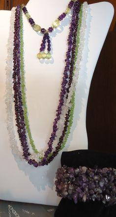 Citrine, Quartz Amerthyst long necklace and Amethyst Bracelet.  Check them out at The Corner Shoppe, 27 Calendar Ave, LaGrange, IL 708-579-2425