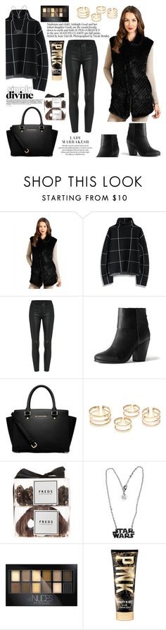"""""""The Julia Knitted Mink Vest"""" by furhatworld ❤ liked on Polyvore featuring FRR, Chicwish, rag & bone, MICHAEL Michael Kors, FREDS at Barneys New York and Maybelline"""