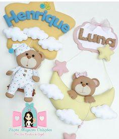Baby Crafts, Felt Crafts, Diy And Crafts, Bear Felt, Felt Angel, Baby Banners, Felt Wreath, Unicorn Baby Shower, Felt Patterns