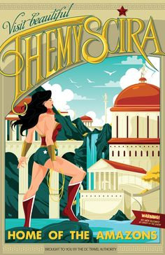 Wonder Woman Themyscira Travel poster on Behance