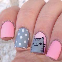 Cat Nail Art, Pink Nail Art, Cat Nails, Nail Art Diy, Simple Nail Art Designs, Best Nail Art Designs, Nail Designs For Kids, Kids Manicure, Manicure Ideas