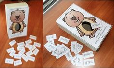 """Groundhog activities: """"Feed the greedy groundhog's grumbling tummy"""" GR blend word cards. Quick, easy & fun way to practice blends. Daily 5 Activities, Groundhog Day Activities, Word Work Activities, Ground Hog, February Holidays, Cute Games, Cvc Words, Love My Job, Winter Theme"""