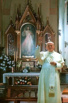"The Apostle of Divine Mercy, St. Faustina ~""Pope John Paul II at the shrine of Divine Mercy in Krakow on June 7, 1997, in front of the tomb of Sister Faustina and the image of the Merciful Jesus"""