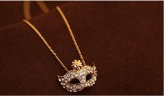 CUTE JEWELRY Micro Paved CZ Necklace in Mask Shape Necklace Rose Golden Color
