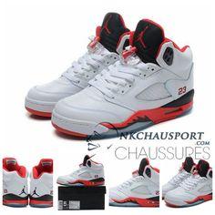 Nike Air Jordan 5 | Classique Chaussure De Basket Homme Blanche-2