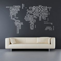 Designed by Sunny Side Up, these vinyl wall stickers offer a clever typographic take on the traditional world map. It's not a wholly original idea, but we still like it. Available in 27 colors.