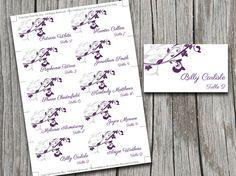 Place Card Template  Exquisite Vines Purple  Silver  Wedding