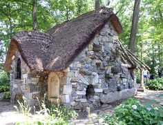 Stone cottage with thatch roof