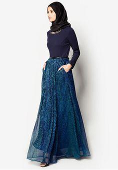 Embellished Metallic Pleated Maxi Dress