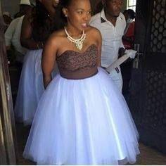 She wears shweshwe African Bridesmaid Dresses, African Wedding Attire, African Print Dresses, African Attire, African Fashion Dresses, African Dress, African Wear, African Women, African Traditional Wedding Dress