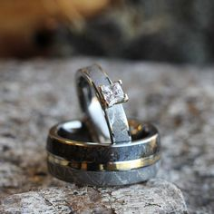 Unique Wedding Ring Set With Moissanite Dinosaur Bone And Meteorite