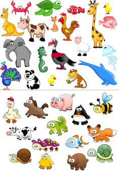 Beautiful cartoon animals with elephant, monkey, chicken, pig, fox, a chicken, a panda, a dolphin, sheep, and other.