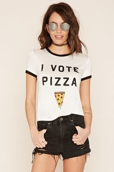 "A knit ringer tee with contrast trim, a round neckline, short sleeves, and a front ""I Vote Pizza"" graphic with an image of a pizza slice."