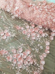 Items similar to Pink Exquisite Sequined Lace Fabric with Shabby Chic Rosette , Bridal Dress Wedding Gown Fabric by Yard , Leaf Emrboidery Lace Fabric on Etsy Couture Embroidery, Beaded Embroidery, Hand Embroidery, Embroidery Designs, Bridal Lace Fabric, Embroidered Lace Fabric, Wedding Fabric, Fabric Beads, Handmade Flowers