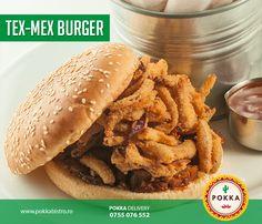Carne de porc (marinată 24 de ore după o rețetă proprie), sos buffalo, ceapă roșie pane – servit cu sos BBQ, sos tartar și cartofi prăjiți #Pokka #Burger