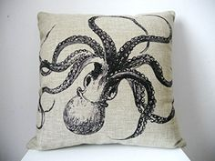 "Decorbox Decorative Cotton Linen Square Throw Pillow Case Cushion Cover Throw Pillow Shell Pillowcase for Sofa Octopus 18 ""X18 "" decorbox"