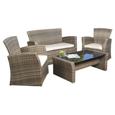 4-Piece Outdoor Weather Resistant Wicker Resin Patio Furniture Set with Cushions