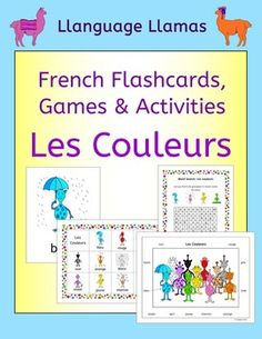 French Colors - Les Couleurs. This pack contains resources to teach 11 French words for colors, great for teaching elementary students. Our little alien family make learning fun!This French colors vocabulary set includes: bleu, jaune, rouge, vert, orange, rose, violet, noir, blanc, gris, marron.The pack comprises:1.