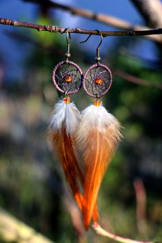 Aubergine and Orange Dream Catcher Earrings by nZuriArtDesigns