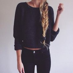 All black everything. Hair. Braid.