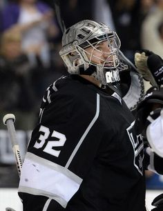 Jonathan Quick #32 of the Los Angeles Kings reacts to a 3-0 shutout win over the San Jose Sharks  (Photo by Harry How/Getty Images)