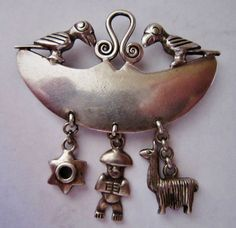 Peru Peruvian Sterling Silver Large Parrot Llama Star Man Pin Back Brooch Signed | eBay