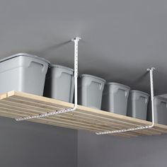 HyLoft W x D White Steel Overhead Garage Storage at Lowe's. white ceiling storage racks provide convenient storage for long-handled tools, lumber, kayaks, and more. Great for the garage, Ceiling Storage Rack, Overhead Garage Storage, Projector Stand, White Ceiling, Steel, Lowes, Image, Steel Grades, Lowes Creative