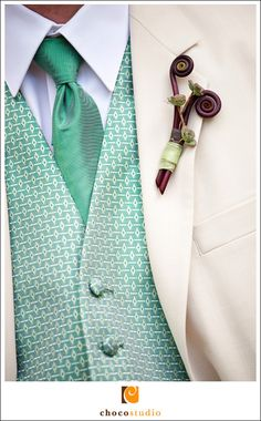 Detail Close up of Groom Suit