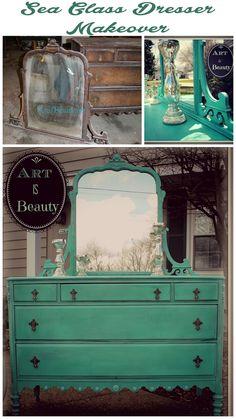 ART IS BEAUTY: To BEAUTY from Beast. Custom Sea Glass Dresser makeover