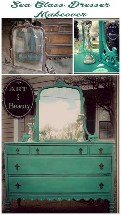 ART IS BEAUTY: To BEAUTY from Beast. Custom Sea Glass Dresser makeover