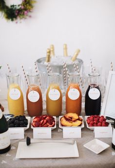 Mimosa bar. Beautiful Sunday Brunch idea! Will have to try this at my next party.