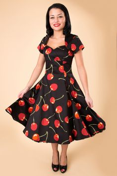 Collectif Clothing - 50s regina doll swing dress mon cherie black