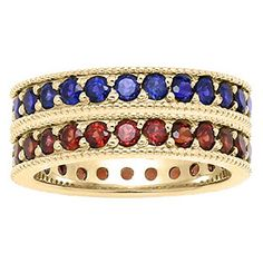 Custom Made Birthstone Eternity Stackable Ring In Yellow Gold Available Exclusively at Gemologica.com
