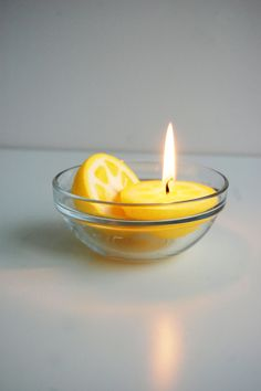 Less Candles. Set of 2 lemon candles, handpainted two pieces of lemon. They looks like real lemon. Hand painted with special wax.